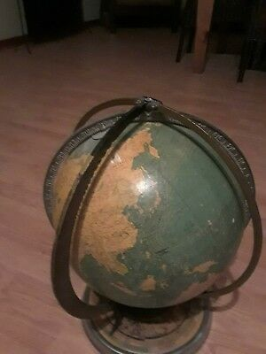 Rare world globe school globe with ocean tide and current and double Meridian...