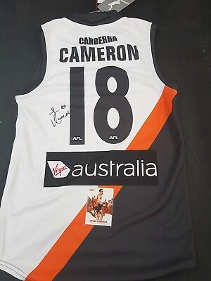 Jeremy Cameron player issue hand signed jumper COA and signed card Gws football