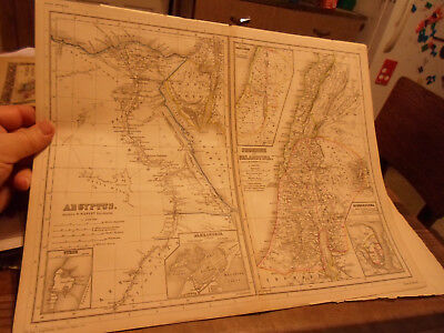 Egypt Lebanon & Palestine From 1870's-80's Kiepert's Atlas -Hand-Colored Maps!