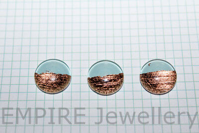 NEW!! 2 x Handmade Blue & Rose Gold Foil 12x12mm Glass Cabochons Cameo Metal