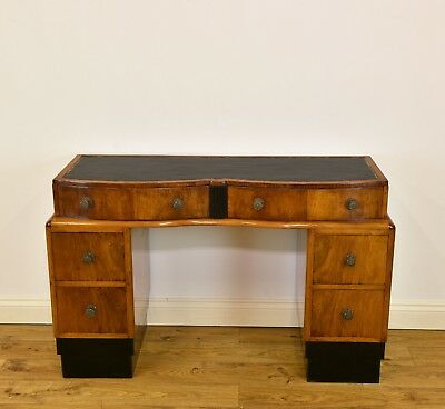 1930s ART DECO WALNUT SIX DRAWER DESK WITH LEATHER INSET ANTIQUE VINTAGE