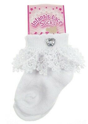 Frilly Lace Socks Diamante Heart Button Wedding Christening Occassion Soft Touch
