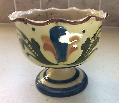 Vintage Devon Motto Ware Pottery Bowl on stand marked:- Watcombe Torquay