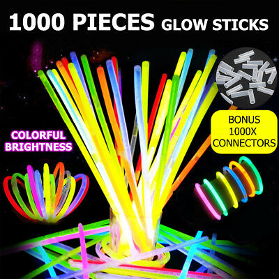 1000pcs Mixed Colour Glow Sticks Bracelets Party Glowsticks Dark Light Flashing