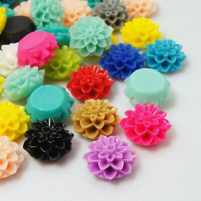 Resin Cabochon Flowers 20 Royal Blue Mums Dahlias 15mm x 8mm Flatbacks