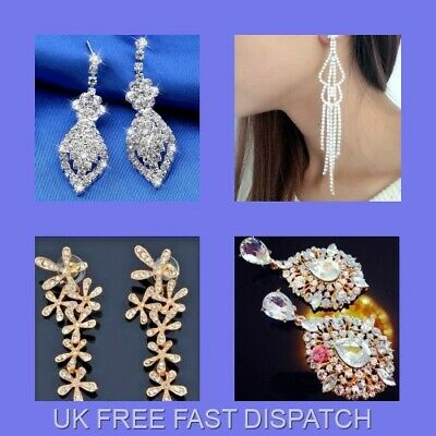 Sparkly Bridal White/Gold Crystal Chandelier Dangle Earrings+1 FREE Pouch/D19