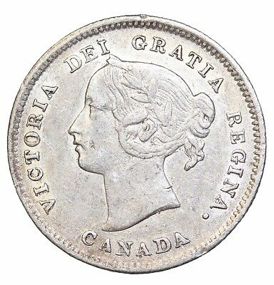 1900 Canada Five 5 Cents Round 0's Queen Victoria Canadian Silver Coin KM#2