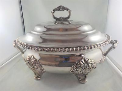Classic defined silver plated central standing opulent Tureen.