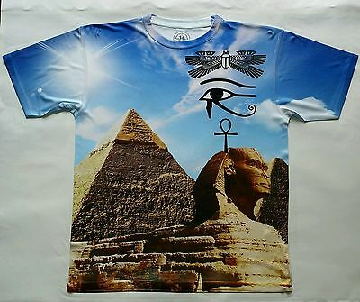 Egyptian Pyramids T Sublimated Shirt laser sport blue ancient original man black