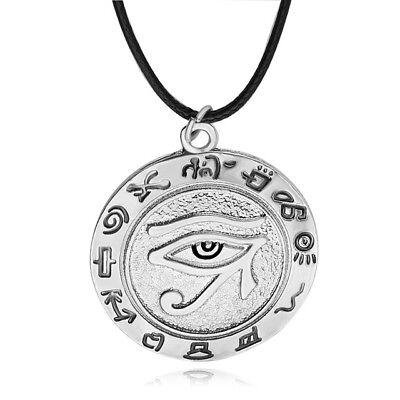 Eye of Horus Necklace ~ Egyptian Sun God Pendant Runes ~ Silver Colored