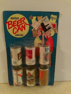 Vintage Miniature Toy Plastic Beer Cans Set Of 6
