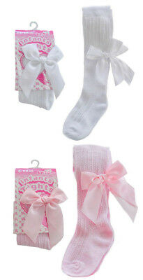 Baby Girls Ribbed Tights Romany Spanish Style Bow Deluxe White Pink Soft Touch