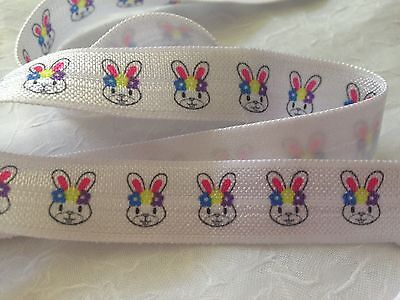 "1m/5m Easter Rabbit on White 5/8"" FOE Fold Over Elastic HeadBand Hair Ties DIY"