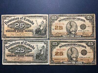 LOT Canada: 25 Cents (1900, 1923), FOUR VG+, F  Banknotes, No Reserve