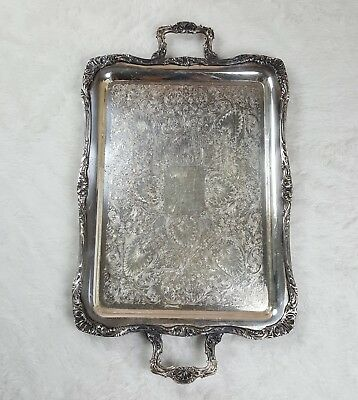 Vintage Large Ornated Handled Footed Silver Tray Butler Serving Tray