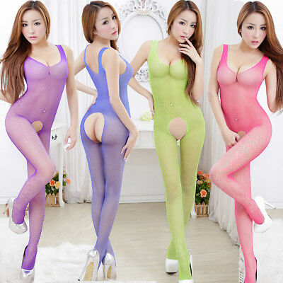 Women Fishnet Open Crotch Body Stocking Bodysuit Nightwear Mesh Jumpsuit Natural