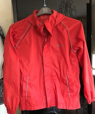 Mountain Warehouse Red Hooded Waterproof Jacket Age 13 Yrs Immaculate