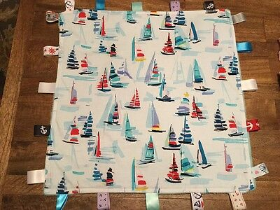 "Baby Taggie - Security Blanket -  ""Watercolor Regatta"" Nautical - Cotton/Minky"