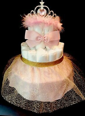 diaper cake/princess/gift/centerpiece/baby shower/pink/bow