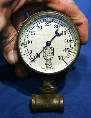 Antique ~  U.S. Gauge Co. N.Y. ~  Heavy Brass ~ Extra Thick Beveled Glass ~ 1906