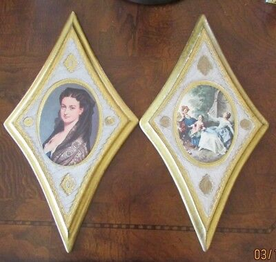 Italia Florentine Pictures Gilt  Hollywood Regency Lot Of 2