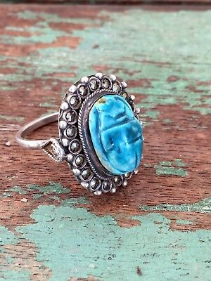 Vintage Art Deco 800 Silver Egyptian Turquoise Blue Pottery Scarab Beetle Ring