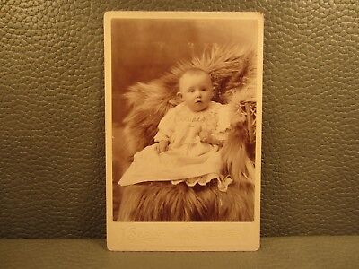 Victorian Antique Photo Cabinet Card of a Baby Girl Child Infant Kid
