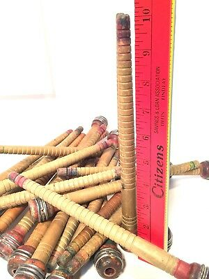 Quills Bobbins Wooden Primitive Industrial Spinning Textile Supply Lot of 24