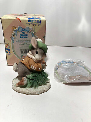 '96~ Enesco~ My Blushing Bunnies ~~Wintertime Blessings ~ 178616 Christmas