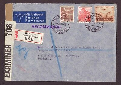 Switzerland: 1941 Registered Airmail (Basel) - Opened by Examiner Label Applied.
