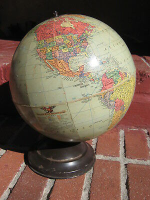 Vintage REPLOGLE 10 Inch Precision Globe, Made in USA, c. 1949