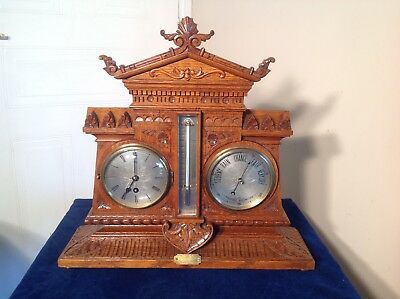 GOLDEN OAK ANTIQUE CLOCK ,BAROMETER & THERMOMETER SET, JUST 99p START !