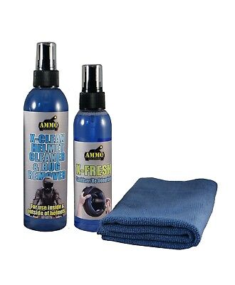 Ammo Motorcycle Helmet Cleaner (Outside & Inside!) + X-Fresh Sanitiser