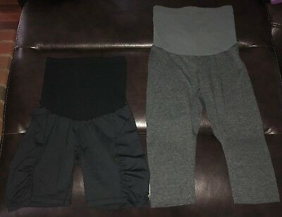 Motherhood Maternity Leggings and Shorts - Lot of 2 'Secret Fit Belly' Size S
