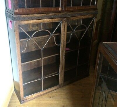 Antique victorian glass fronted display cabinet - 101cm tall (4)