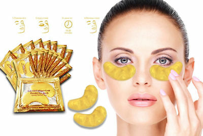 20 Pair Crystal Collagen 24k Gold Under Eye Gel Pad Face Mask Anti Aging Wrinkle