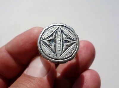 ancient medieval Crusader's Huge Solid Silver enameled ring,circa XI century AD