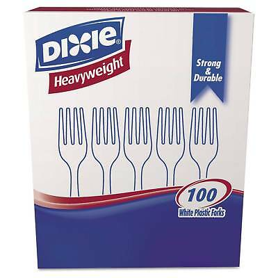 Dixie Heavyweight Strong And Durable White Plastic Forks - 100ct