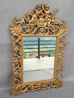"""Antique french mirror made of bronze 19th century Empire style angels 18"""" tall"""