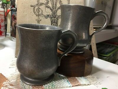 Carson Vintage Footed Pewter Coffee Mug Cup Mugs Cups Set Of 2 EUC