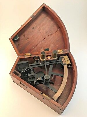 RARE Antique Sextant, Spencer Browning & Co., Brass with Original Mahogany Case