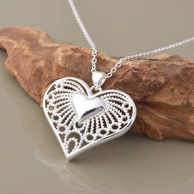 925 Sterling Silver Plated Cutout Heart Pendant Necklace + Free Gift Bag #3