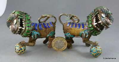 2 x Vintage Oriental Cloisonne Lion Foo Dogs - Chinese?