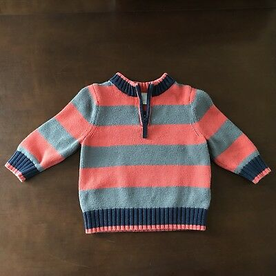 Boys Hanna Andersson Gray Orange Striped Knit Pullover Sweater Size 80 18-24 Mo