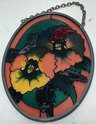 Oval stained glass suncatcher floral design with chain