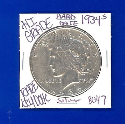 1934 S  Silver Peace Dollar Coin# 8047 Hi Grade Genuine Us Mint$Rare Key Date