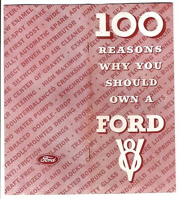 """""""100 Reasons You Should Own A 1934 Ford V8"""" Advertising Features Brochure"""