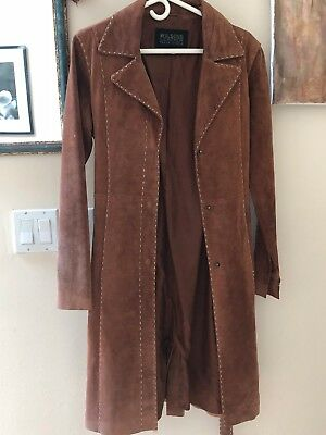 VTG 70s Retro Suede Boho Trench Coat W/ cream stitching Wilsons Leather