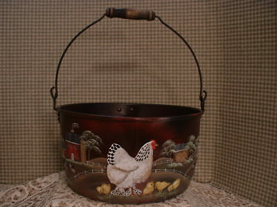 Vintage Aluminum Cooking Kettle Hen Peeps Country Farms Painted Folk Art By Jmd