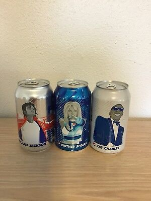 3 BRITNEY SPEARS MICHAEL JACKSON RAY CHARLES 2018 Pepsi Can SEALED Music Series